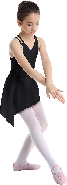 MSemis Little Big Girls Criss Cross Open Back Tank Leotard Wrap Skirt Gymnastics Ballet Dress Dancewear