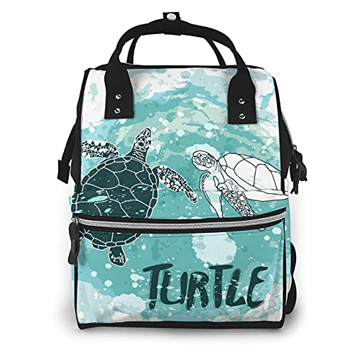 Turtles Swim in Ocean Diaper Bag Backpack,Multi-Function Baby Bag, Maternity Nappy Bags for Travel, Large Capacity, Waterproof, Durable & Stylish for Woman and Men