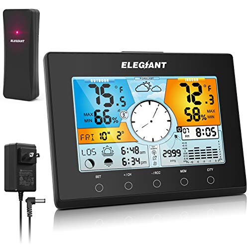 ELEGIANT Wireless Weather Station, Digital Indoor Outdoor Thermometer Hygrometer Monitor with Sensor, Automatic Time(WWVB), LCD Color Screen, Weather Forecast, Alarm Clock/Snooze, 4 Level Backlight