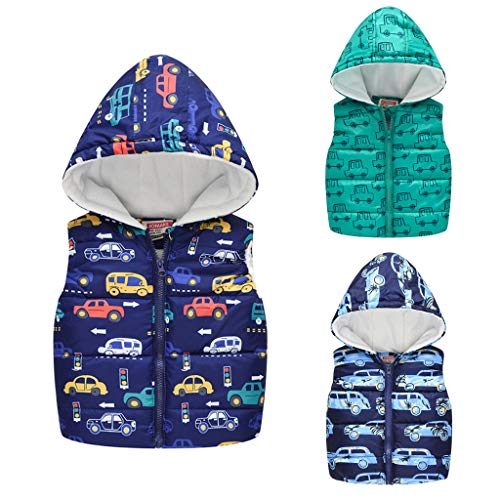 H.Eternal Baby Girls Boys Hoodies Coat Car Print Autumn Winter Warm Jackets Hooded Warm Waistcoat Tops Outerwear for 0-5 Years Old Kids (18-24 Months, Green)