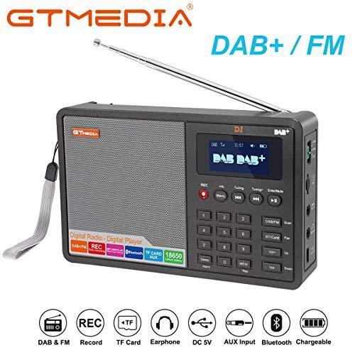 GT Media D1 Tragbares Radio DAB/DAB+ / UKW FM RDS Bluetooth/TF Karte, Stereo Lautsprecher, USB Aufladung, Wiederaufladbarer Akku mit 2200mAh, AUX-IN, 1,8\'\' LCD-Anzeige, Doppelwecker