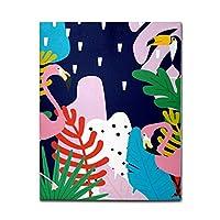 アートパネル キャンバス油絵 ポスター 絵画 フラミンゴ かわいい 葉 キャンバス 絵 壁インテリア インテリア絵画 壁掛け 木枠 フック付き アートポスター 飾り絵 玄関 レストラン 寝室 壁画アート 現代アートフレーム 祝い ギフト 35x35cm