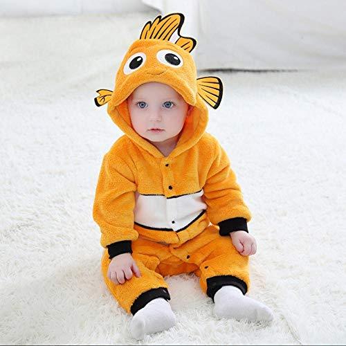 FZH Disfraz de Cosplay de pez, Mono Encantador para bebé, Traje de pez Amarillo, Pijama cálido de Invierno, Bonito Kigurumi para niños-un_24 M (2-2,5 años)