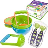 Mash & Serve Baby Bowl Set with Toddler Training Spoon & Fork Also Comes with A Travel Case - Makes A Great Baby Shower Gift