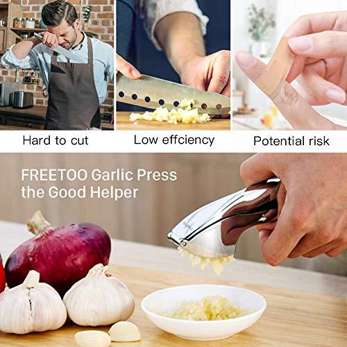 FREETOO Presse Ail Professionnel Garlic Press Pratique Solide- Nettoyage Facile pour la Cuisine