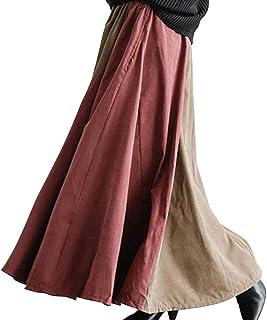 [エアバイ] [さらり生地] バイカラー マキシ スカート フレア ギャザー ボリューム ロングスカート 体型カバー レディース M~XL