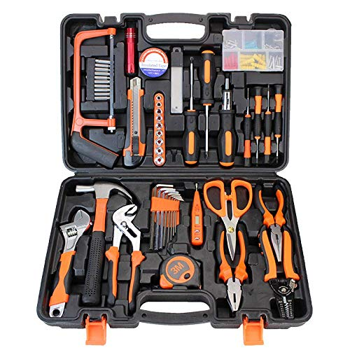 Kit de herramientas de reparación de viviendas de 100 piezas, caja de herramientas manual de reparación de automóviles en general con caja de herramientas de plástico-Dabaiyang 006-1
