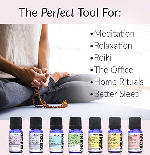 Elixir By Bita 7 Chakras Essential Oils Set of 7 Essential Oil Blends and 7 Gemstone Crystals and Healing Stones. for Sleep, Meditation, Relaxation & Diffusers. Aromatherapy Oils Lavender Rosemary
