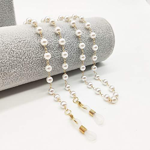 Zhi Zhi Perlas de Cristal de Vidrio de la Perla de imitación enmascarados Gafas de Sol vidrios de los vidrios de la Cadena de Gafas (Color : YJL18)