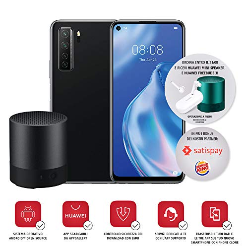 "Huawei P40 Lite 5G con Bluetooth Minispeaker, Display Punch FullView da 6.5"", 6 GB + 128 GB di Memoria, Nero, Versione Italiana"