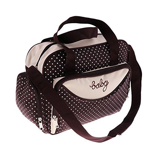 Prettyia Damen Windel Wickeltasche Mama Handtasche Babytasche Umhängetasche Schultertasche Reisetasche für Mutter und Baby - Braun, Groß