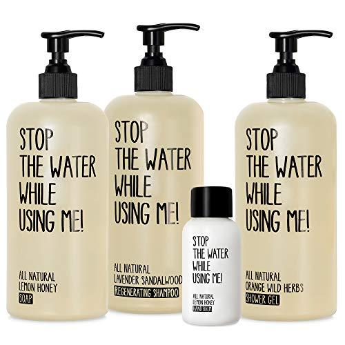STOP THE WATER WHILE USING ME! All Natural Hotel Experience Set, beinhaltet Soap (500ml), Shower Gel (500ml), Shampoo (500ml) und Hand Balm (30ml), Naturkosmetik in nachfüllbaren Spendern
