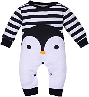 Penguin Jumpsuit, Unisex Baby Newborn Infant Cartoon Penguin Striped Romper Long Sleeve Pajamas Sleeper for 0-18M