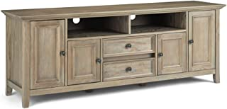 Simpli Home Amherst SOLID WOOD Universal TV Media Stand, 72 inch Wide, Transitional, Living Room Entertainment Center, Storage Shelves and Cabinets, for Flat Screen TVs up to 80 inches Distressed Grey