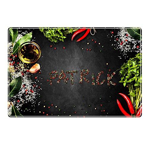 digital print Tischset mit Namen ''Patrick'' Motiv Pfeffer - Tischunterlage, Platzset, Platzdeckchen, Platzunterlage, Namenstischset