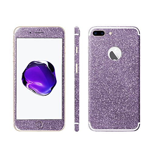 Luch iPhone 7 8 X Glitter Screen Skin Diamond Shine Sticker plakfolie beschermfolie voor de voor- en achterkant, iPhone 7 Plus / 8 Plus, lila