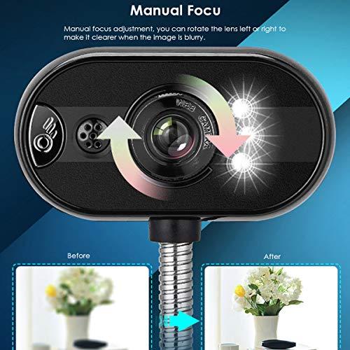 DERCLIVE USB-Treiber Frei Webcam 480P Computer PC Laptop Webkamera mit Mikrofon LED-Licht für Videoanrufe