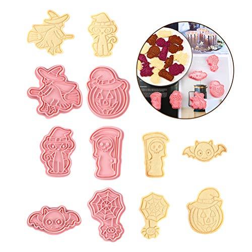 Yumira 6 Stück/Set Halloween Ausstechformen, 3D Plätzchenformen Backformen Kürbis, Hexe, Spinnennetz, Fledermaus, Katzen-Ausstecher Kuchen Dekorationswerkzeuge Backzubehör