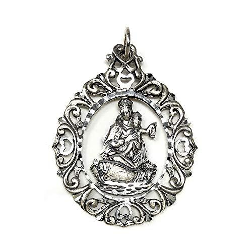 Medalla Plata Ley 925M Virgen Carmen 50mm. Cerco Tallado Filigranas Mujer