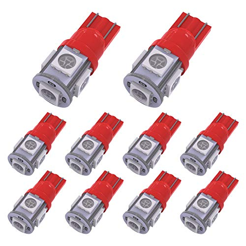 yitamotor 10pcs T10cuña 5-SMD 5050LED bombillas W5W 2825158192168194