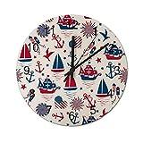 Huabuqi Feliz día de Colón en Blanco Vintage Reloj de Pared Redondo con impresión de Madera,...