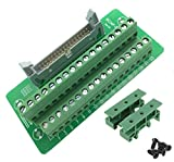 Sysly IDC34 2x17 Pins Male Header Breakout Board Terminal Block Connector with Simple DIN Rail Mounting feet