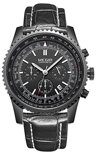 MEGIR Men Chronograph Analog Quartz Wristwatch Waterprooof Stylish Business Watch with Leather Band