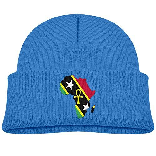 Ankh Mapa Africano Bandera de Saint Kitts y Nevis Gorro Infantil de Color Gorro de Calavera Gruesa Sombrero cálido