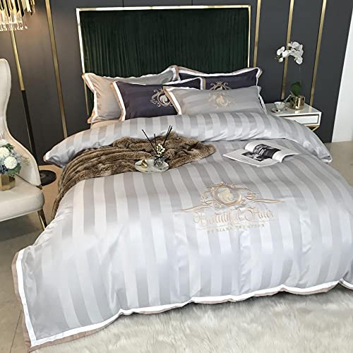 Exlcellexngce Cotton Sateen King Size-European five-star hotel cotton single double bed single water wash silk king double down a pillow sleeve bedding four sets-Di_2.0M bed (4 pieces)