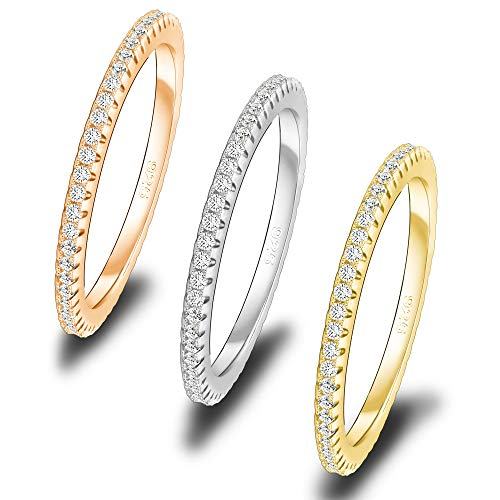Spoil Cupid 14k Tri Tone Plated Sterling Silver Cubic Zirconia Micro Pave Eternity Band Stacking Thin Band Rings for Women 3pcs Size 7