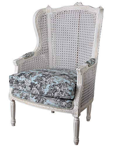 Barock Sessel Toile de jouy Weiss Ohrensessel Barockstuhl cat0678b62 Palazzo Exklusiv