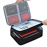 Gulenduo Waterproof 3-Layer Document Storage Bag with Password Lock,A4 Letter Size Document Holder,Portable Organizer for Passport, Legal Documents, Files, Valuables, Black Double Zippers