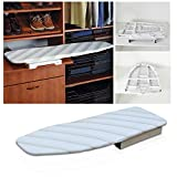 Lehom Drawer Pull Out Ironing Board Slide-Out Folding Hidden Ironing Board 180 Degree Swivel Retractable Ironing Board Hide Away in The Cabinet Space Saving White