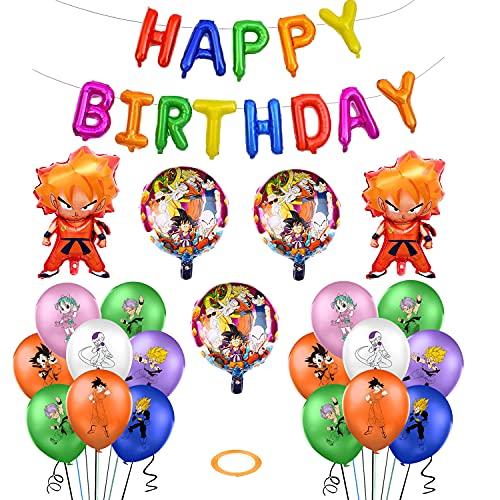 Globos de Cumpleaños Decoraciones de Dragon Ball Globos de Goku Globos de Papel de Aluminio Super Saiyan Banner de Feliz Cumpleaños para Decoraciones de fiesta Temáticas de Animados