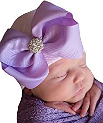 Infant Baby Purple Cap with Big Ribbon Bow and Rhinestone