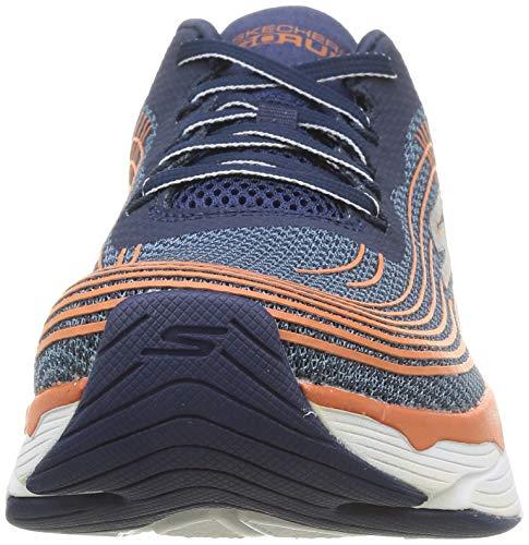 Skechers MAX Cushioning Elite, Zapatillas Hombre, Azul Marino Textil Naranja Borde Sintético Nvor, 43 EU