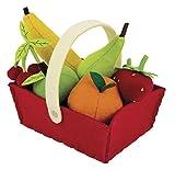 Janod–Jouet en Bois–Assortiment fruits dans un panier fruits magasin marché feutre 8pièces–Multicolore 16x 12x 13cm