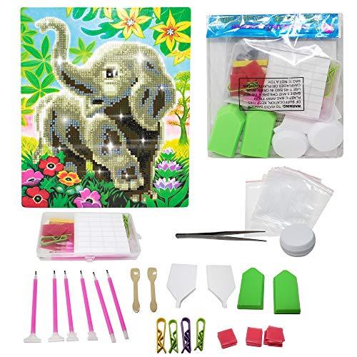 Moji Toys - Pintura diamante 5D DIY - lienzos para pintar con diamantes, de 100 piezas - Incluye lienzo de inicio, bolígrafos de puntada de diamante y Herramientas de pintura de diamante