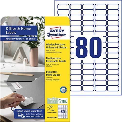 AVERY Zweckform L4732REV-10 Universal Etiketten (800 Klebeetiketten, 35,6x16,9 mm auf A4, wieder rückstandsfrei ablösbar / abziehbar, individuell bedruckbare, selbstklebende Aufkleber) 10 Blatt, weiß