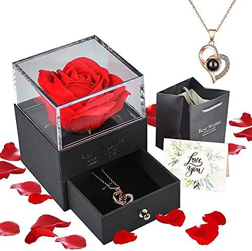 Floridliving Rosa eterna Regalos, Rosa eterna Hecha a Mano con Colgante Mujer de Amor en 100 Idiomas Caja, Regalos de Rosas para Siempre para Ella en cumpleaños, Aniversario, día de la Madre (Rojo)