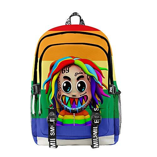 WAWNI 6ix9ine Backpacks Student School Bag Laptop GOOBA Backpack Unisex Fashion Luggage Rainbow Shark Logo Backpack (1,one Size)