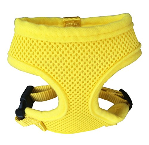 FUNPET Soft Mesh Dog Harness No Pull Comfort Padded Vest for Small Pet Cat and Puppy Yellow XS