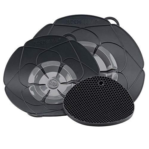Kochblume Profi-Set für Töpfe von 14 bis 28 cm mit Bionic Multipad als Set in der pinken Box | Silikon Überkochschutz und Untersetzer/Topflappen (anthrazit)