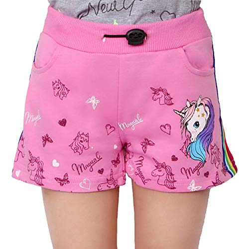 L&K-II Mädchen Shorts mit Einhorn und Farbstreifen Muster Kinder Baby Kurze Hose Baumwolle 2705 Pink 128