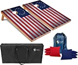Tailgating Pros Cornhole Boards - 4'x2' & 3'x2' Cornhole Game w/Carrying Case & Set of 8 Corn Hole Bean Bags w/Tote (4'x2' Betsy Ross Flag)