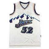 CLKI # 32 Karl Malone Jazz Basketball Jerseys, Unisex Summer Outdoor Drying Transpirable Mesh Swingman Sweatshirt (S-2XL) White-XXL