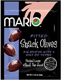 Mario Camacho Foods Pitted Snack Olives, Kalamata with a Hint of Thyme, 1.05 Ounce, Pack of 12