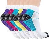Acelec Calcetines de compresión Hombres y Mujeres Correr Fitness Cómodo Desodorante Transpirable Cómodo Calcetines Deportivos Profesionales (6 Pares, S/M)