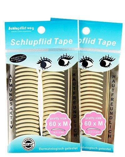 """SCHLUPFLID TAPE®\""""pretty size\"""" (M) - Augenlidliftig ohne OP [240 Stück] Kleine Schönheitshelfer für hängende Augenlider - Schlupflid Streifen im Doppelpack (2M)"""