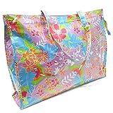 BRANDELIA Bolso Grande Plástico Playa Compras Mujer Bolso Impermeable con Cremallera, Hibisco